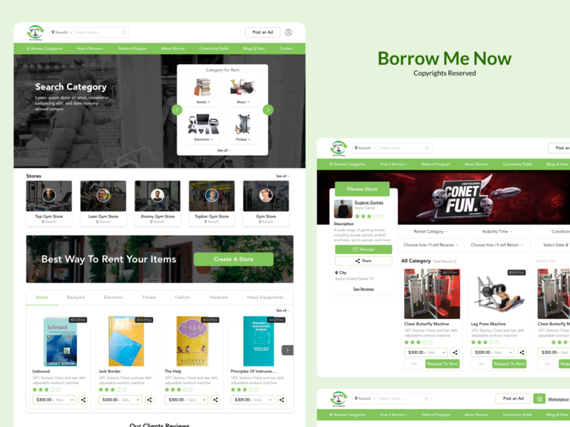 Borrow me now store rent system simple website design web design website web concept typography icon branding ux ui  ux design ui design