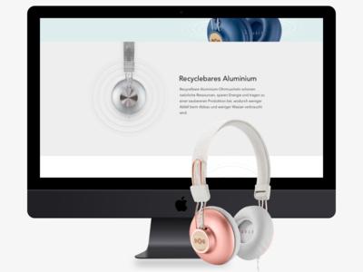 Positive Vibration Landingpage mockup headphones product webdesign design webseite website userinterface uidesign uxdesign landingpage
