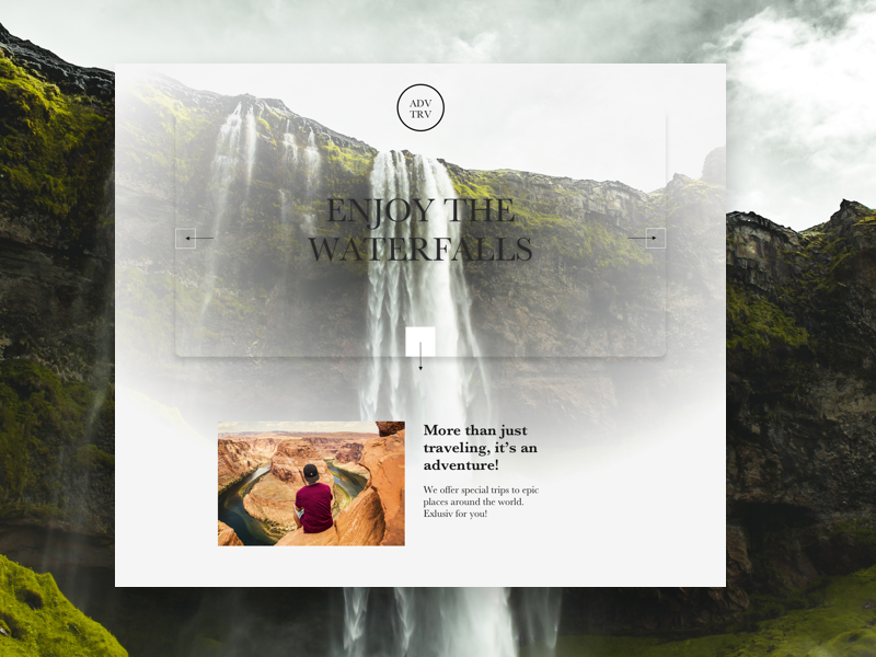 Waterfall Adventure landingpage vector branding ui ux typography website web illustration webdesign userinterface uidesign design