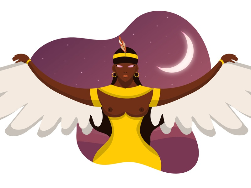 The flight of Maat maat egyptian god egyptian goddess ancient egypt illustration