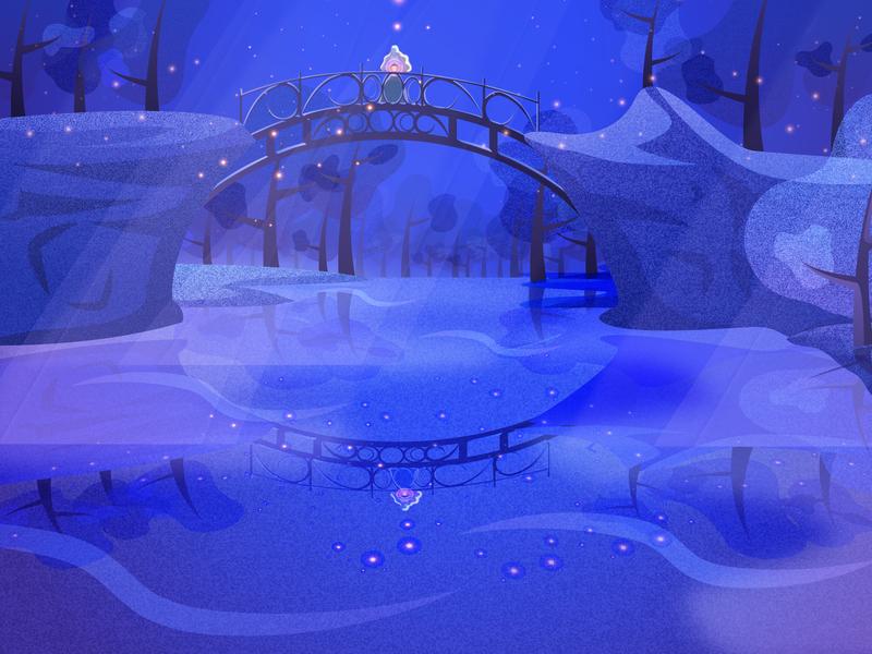 The Lover's Bridge bridge reflection woods forest moonlight night midnight design game art concept art illustration