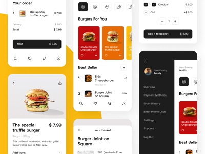 Food Delivery - Mobile App typography inspiration interaction design interaction design concept inteface web ui ux