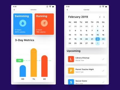 Mobile Activities & Calendar UI