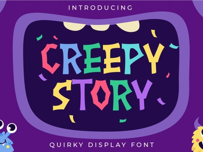 Creepy Story - Cute Children Font monster zoo typeface sticker party colours language learning birthday adorable decorative number doodle hand-drawn text baby funny letter happy childish