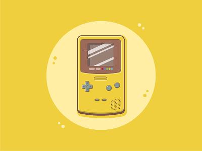 Gameboy Color yellow colorful nintendo game cute cartoon art cute art vector art cute fun funny cartoon illustration flat illustration