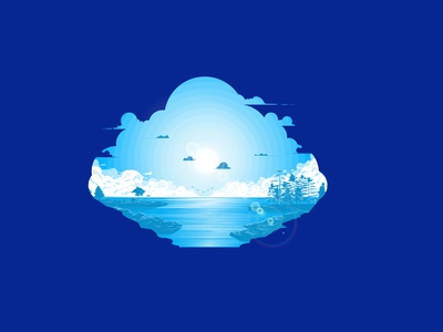 Madeline Island owl city background trees water sun clouds island cool landingpage webdesign illustration vacation relaxing relaxed calming landscape blue sea clean calm