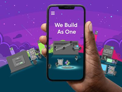 We Build As One mockup web page design stars clouds sky astronaut space darkmode landing page mobile flatillustration ui allhands