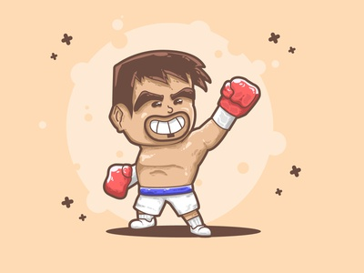 """Manny """"Pacman"""" Pacquiao character design simple illustration"""