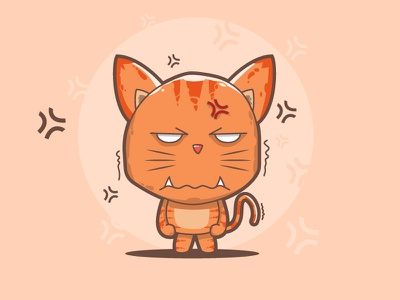 Angry Cat character design funny cute simple illustration cartoon