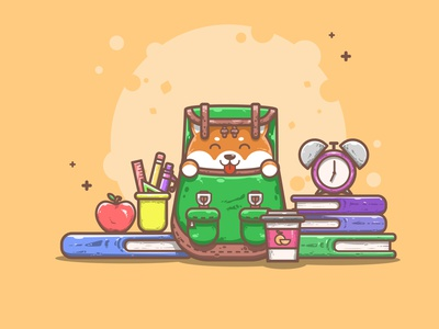 A Cute Shibadog Excited to go in School homework back to school animals colors good vibes cute fun funny cute flat illustrations adobe illustrator flat illustration character design simple illustration