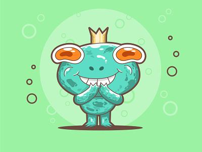 Frog Prince cartoon vector art cartoon art character design flat illustration digital illustration digital art sketch character characterdesign cute fun funny cute animal cute art illustration art 2d character 2d art