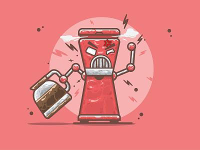 Angry Coffee Machine funny illustration cartoon simple illustration cute fun funny cute art vector art cartoon art character design flat illustration