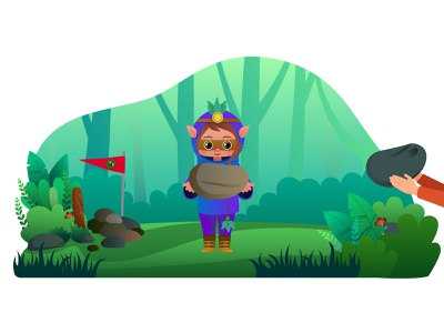 Protector in the woods design ai digital painting childrenbook 2d forest 2d character 2d art girl green woods motion graphic character vector creative illustrator motiongraphics illustration characterdesign