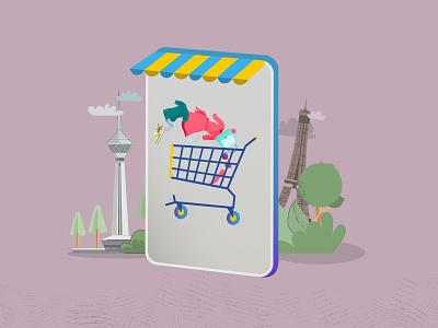 Online Shopping shopping 2d design illustraion creative vector motiongraphics illustration characterdesign