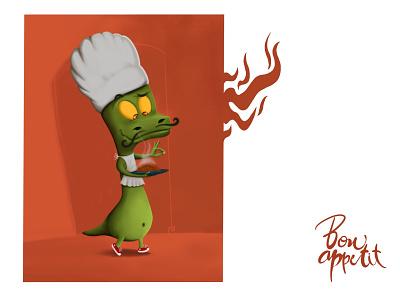 bon appétit applepen ipadpro procreat digitalpainting t-rex trex illustraion illustrator characterdesign design charact