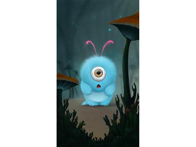 Little blue monster applepen ipadpro procreate illustration creative characterdesign