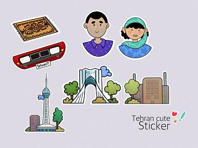 Tehran stickers illustrator 2d art love tehran buildings azadi square milad tower stickers creative illustration vector illustraion ipadpro procreate cars mockup journal city design sticker