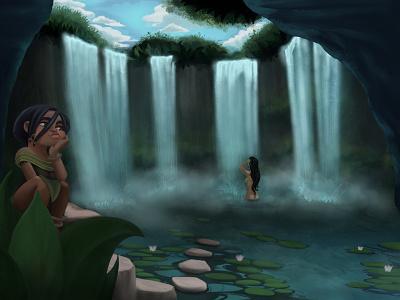 Sneaky Servant naked texture drawing naked-girl girl digitalpainting painting lake waterfall water character design illustration characterdesign