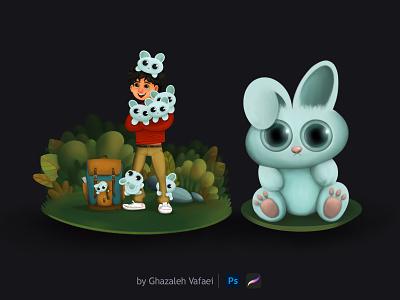 Alvin in Bunny land painting jungle bunnies bunny apple procreate ipad-pro 2d book digital-painting digitalpainting digital environment design creative illustrator illustration characterdesign