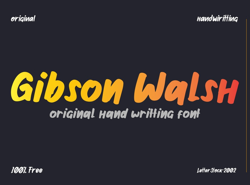 [100% FREE fONT] Gibson walsh hand writting font