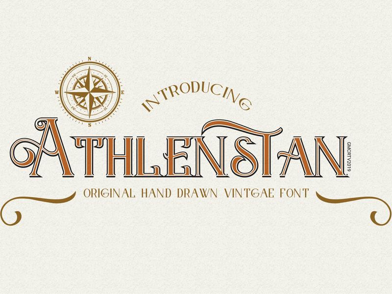 Athlenstan font logo creative  design logo font fonts illustration logo design branding vector display font vintage font typography font awesome fonts collection font design typeface retro font font bundle font lettering