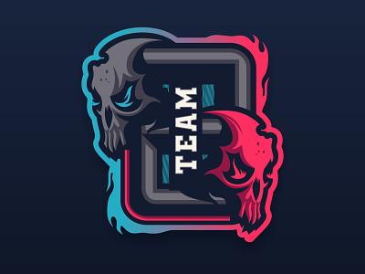 TEAM 2 gaming symbol skull illustration esport mascot logo vector logotype logo design