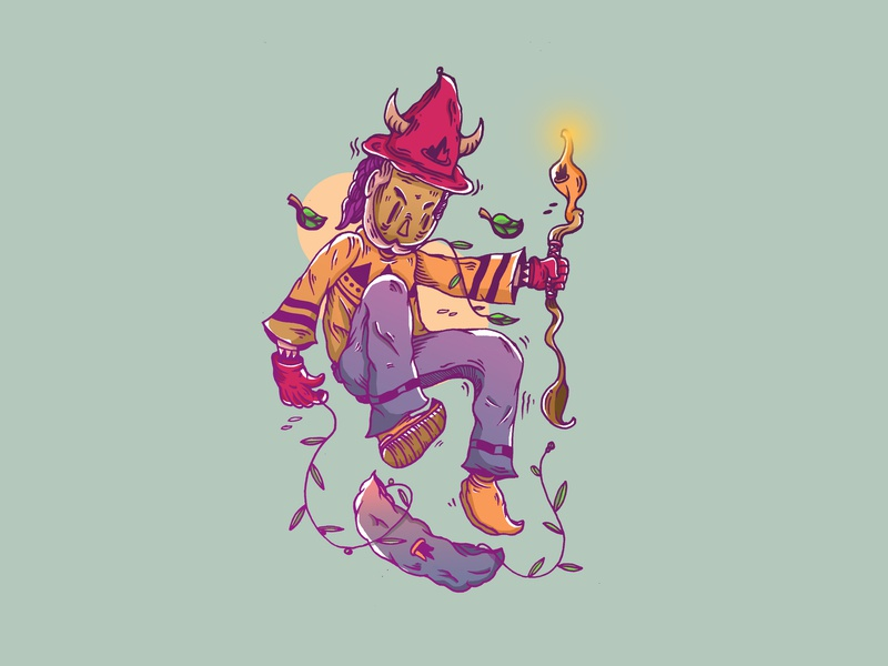 Witch Skateborading branding witchillustartion witch vector leaf illustration design daily art cloud characterdesign character