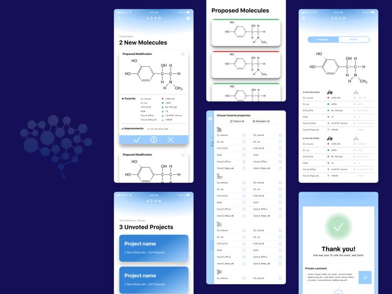 Research App checklist tablet thumbnails list molecule lightblue ui ux pharmacy research mobile app design app ui