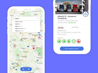 Kravag  - Truck Parking App adobexd app design mobile ux ui icons truck booking map app