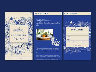 Le Conteur Mobile Website responsive design homepage booking form reservation cards website web design mobile design mobile