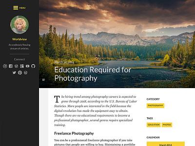 Worldview Theme worldview blog wordpress theme beautiful typography photography bold colors yellow black white