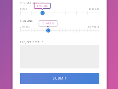 Project Form gradient button slider forms design user experience ux