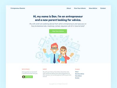 Entrepreneur Parents design agency playful green people orange blue colorful illustration homepage website