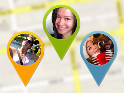 whereby simple photo location markers mobile location lbs social concept contacts photo markers