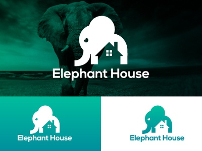 Elephant House Logo character cat cartoon animals animal minimalist illustration flat icon vector letter logo branding typography eyes creative  design logo design brand professional creative
