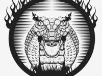 Snake King cobra fire hand draw
