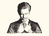 Man hand draw