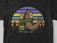 bigfoot hiking vector illustration