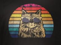 cat handdrawn retro vector illustration