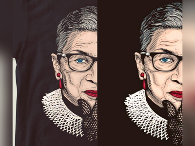 Ruth bader ginsburg design designs tshirt shirt illustration potrait vector artwork women ginsburg bader ruth woman