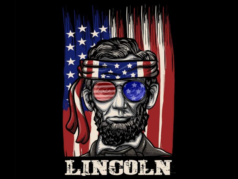 lincoln artwork illustration vector design tshirt shirt america flag usa lincoln
