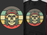 skull retro sunset