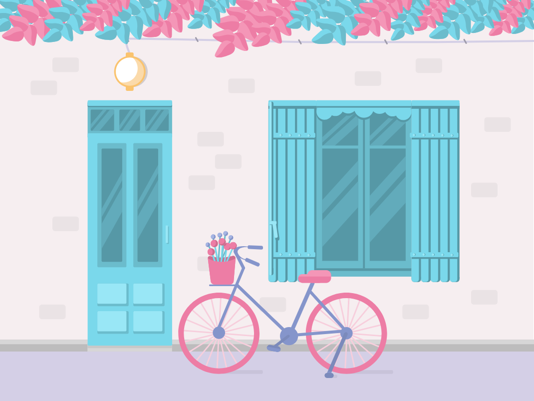 Bicycle Outside exterior design bicycle architecture graphicdesign 2d flat  design illustration vector