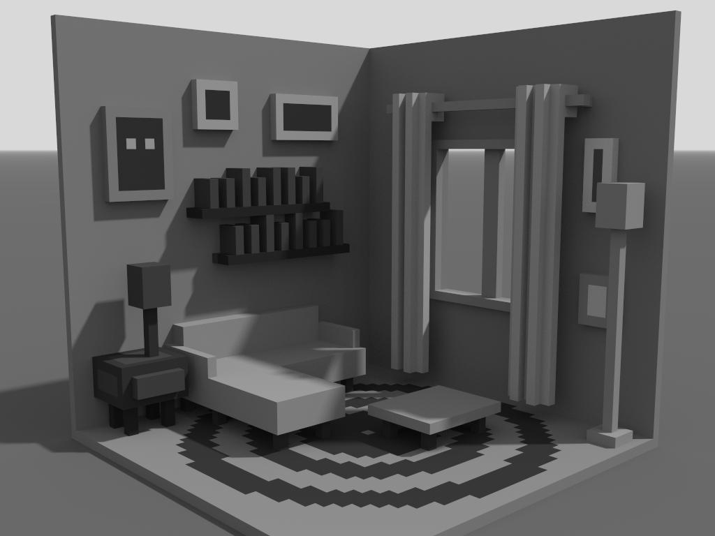 Living Room (Work in Progress) illustration isometric livingroom voxelart voxel magicavoxel 3d