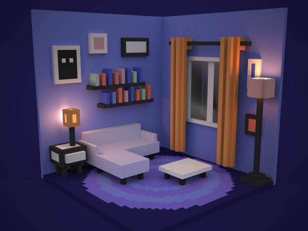 Living Room (Final Colored Version) voxelart voxel magicavoxel livingroom isometric illustration 3d