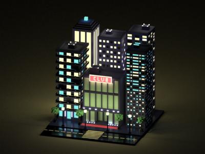 Night City club night club buildings city voxelart voxel magicavoxel isometric illustration 3d