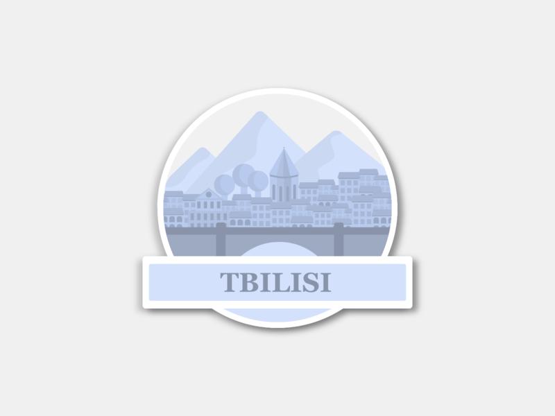 Tbilisi Sticker - Weekly Warm-Up dribbbleweeklywarmup flatdesign city tbilisi hometown weeklywarmup sticker