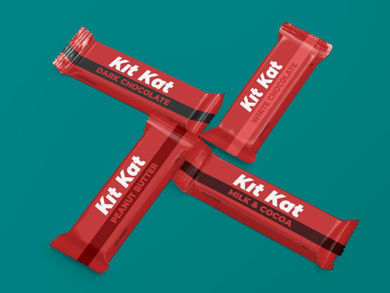 Redesign of Kit Kat's package - Weekly Warm-Up mockup fonts typography design branding package chocolate kitkat weeklywarmup dribbbleweeklywarmup
