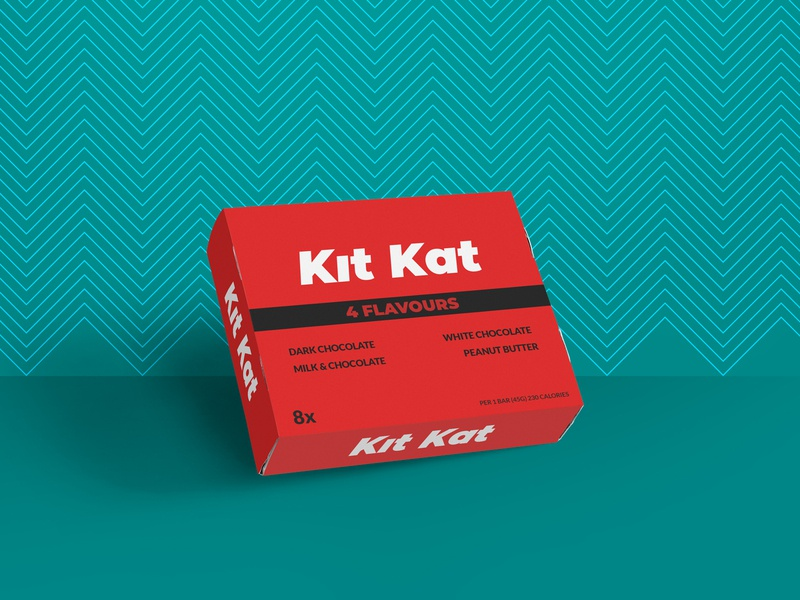 Box for Kit Kat - Weekly Warm-Up mockup fonts typography design branding box package chocolate kitkat weeklywarmup dribbbleweeklywarmup