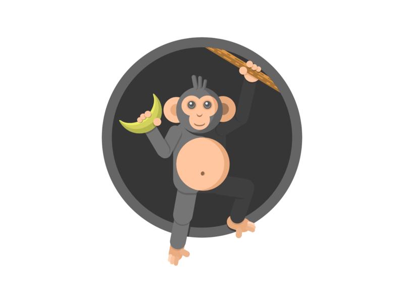 Monkey Icon - Weekly Warm-Up weeklywarmup dribbbleweeklywarmup dribbble flat  design illustration vectorillustration vector monkey icon